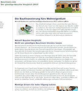 bauzinsen.com liefert Konsumenten Tipps zur Baufinanzierung