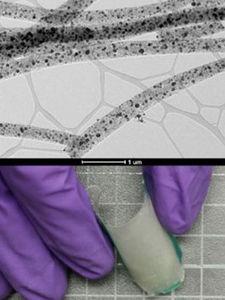 Fasern mit Nanopartikeln ermöglichen flexiblen Katalysator (Fotos: ucr.edu)