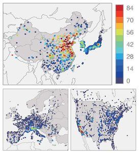 Ozon in China, Japan und Südkorea, Europa und den USA (Foto: fz-juelich.de)