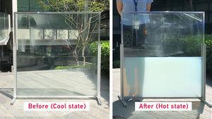 """Das """"flüssige"""" Fenster bei verschiedenen Temperaturen (Foto: ntu.edu.sg)"""