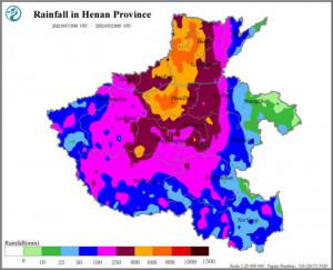 Regenkarte für die chinesische Provinz Henan (Grafik: data.cma.cn/en)