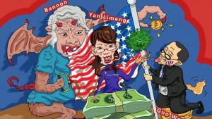 So werden Chinas Kritiker in Karikaturen lächerlich gemacht (Bild: info-res.org)