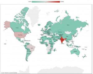 Weltweite Verteilung der Menge an Fake News (Karte: openstreetmap.org)