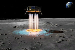 Mondfähre in der Landeplatz-Bauphase (Illustration: masten.aero)