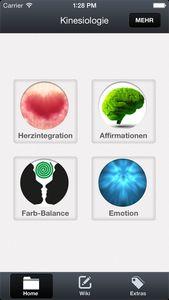 Kinesiologie-App - Hauptmenü