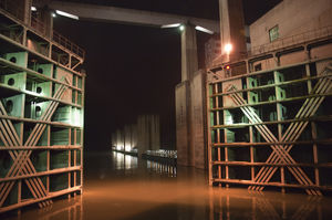Inside the ship lift